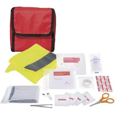 Image of 18 piece first aid kit and professional safety vest
