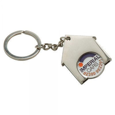 Image of House Shaped Trolley Coin Keyring (Full Colour Print)