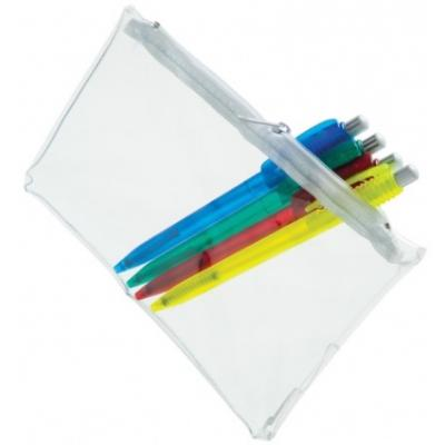 Image of PVC Pencil Case - Clear (White Zip)