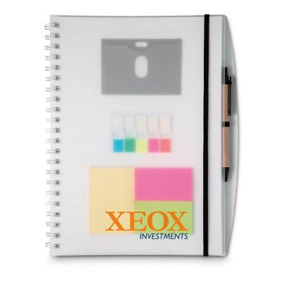 Image of A4 notebook and sticky notes