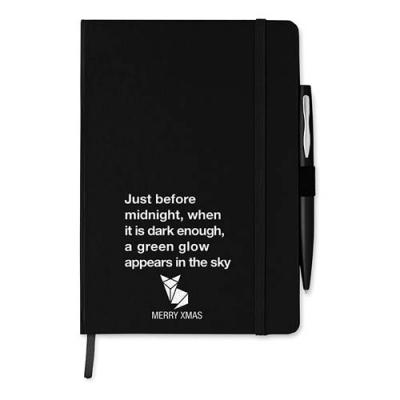 Image of A5 notebook with pen