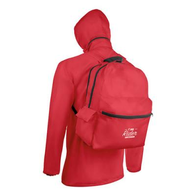 Image of Raincoat and backpack