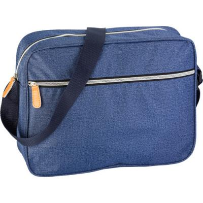 Image of Polyester (300D) laptop bag in denim look with one large zipped front pocket