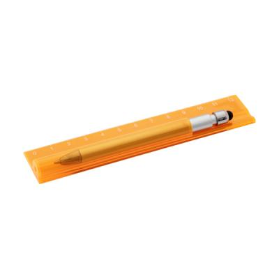Image of Plastic translucent 12cm ruler with pen, blue ink