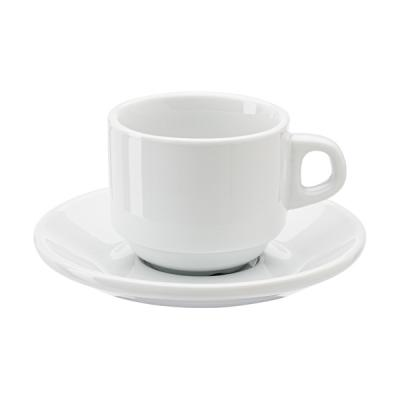 Image of Stackable porcelain cup and saucer