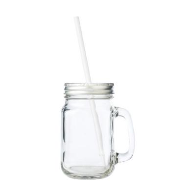 Image of Glass drinking jar (510ml) with aluminium lid and plastic straw