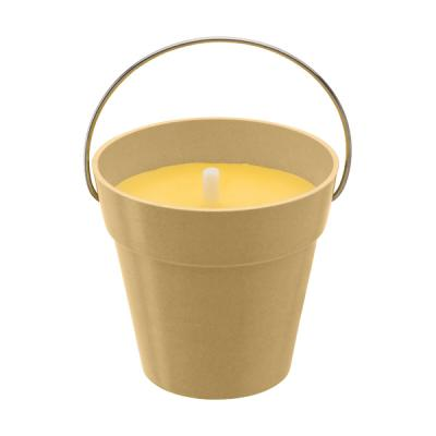 Image of Citronella candle in round pot made from bamboo fibres