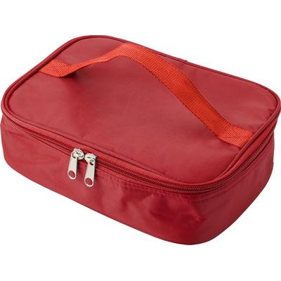 Image of Cooler bag in a polyester material with a plastic with lunch box