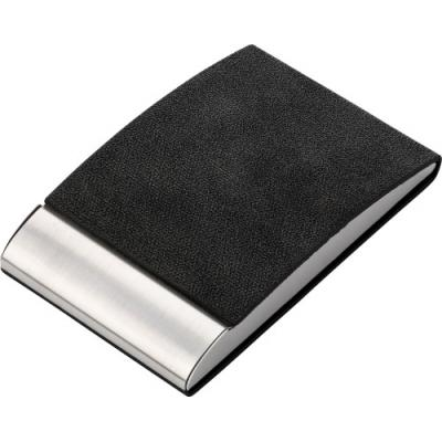 Image of Vertical, curved business card holder with PU finish, magnet closing and velvet inside