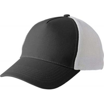 Image of Polyester and mesh five panel baseball cap with hook and loop fastening