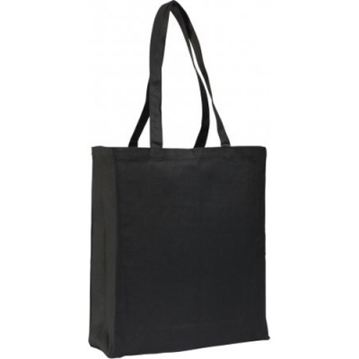 Image of 10oz Black Canvas Shopper Bag With Gusset