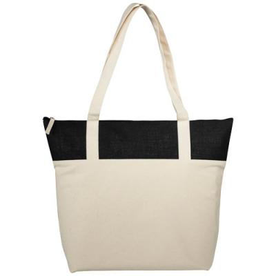 Image of Jute and Cotton Zippered Tote