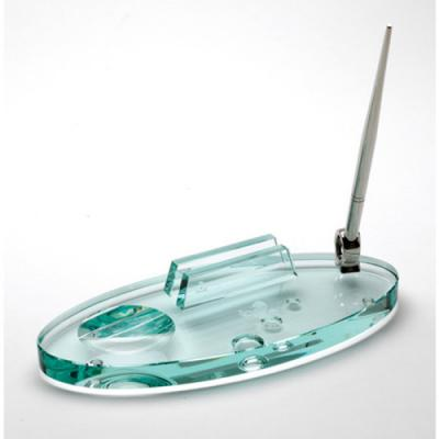 Image of Glass Desk Pen Stand & Business Card Holder