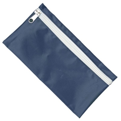 Image of Nylon Pencil Case - Navy (White Zip)