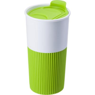 Image of Plastic drinking mug (500 ml) with colourful rubber holder and matching lid with movable hatch for drinking