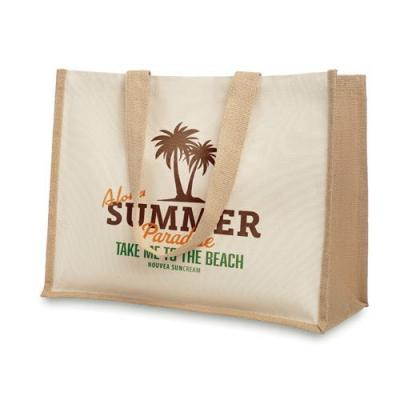 Image of Jute and canvas shopping bag