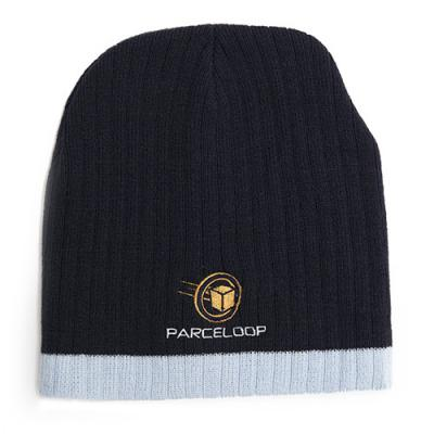 Image of Two Tone Cable Knit Beanie With Embroidery To 1 Position