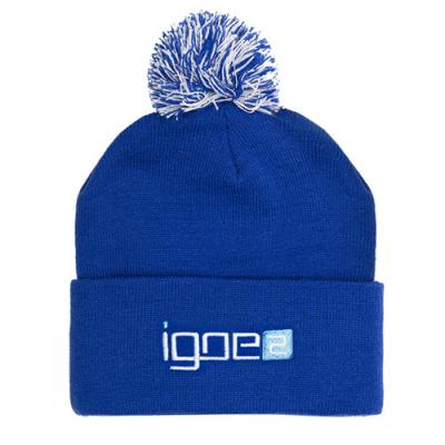 Image of Acrylic Pom Pom Beanie With Embroidery To 1 Position