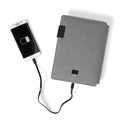 Image of Polyester document folder (A5) with integrated 4000mAh power bank.