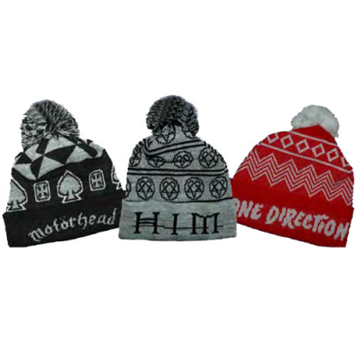 Image of Jacquard Knitted Bobble Hats
