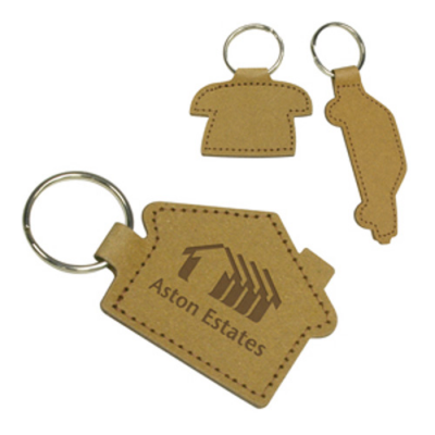 Image of Eco Shaped Natural Leather Key Ring