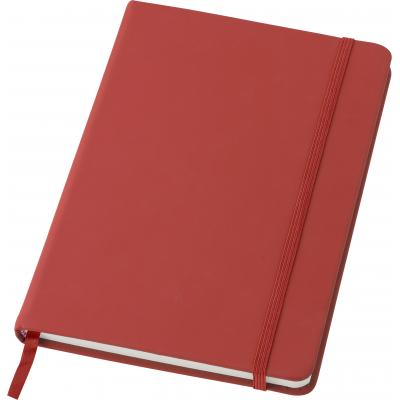 Image of PU notebook, approximately A5. With 96 blank pages, an elastic strap for closing and a ribbon bookmark.