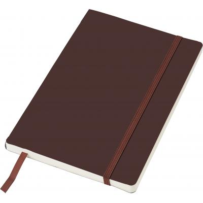 Image of PU soft cover notebook, approximately A5. With 80 ruled pages, an elastic strap over the cover, a ribbon bookmark and a pocket on the inside of the cover.