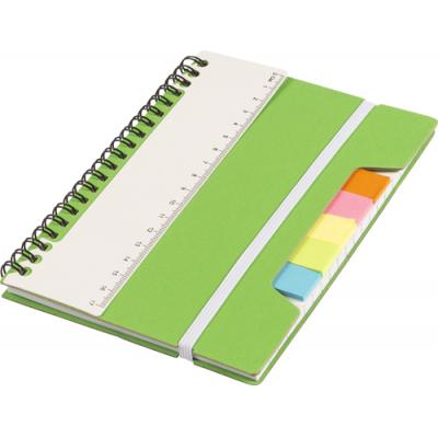 Image of Wire bound notebook with ruler and sticky notes