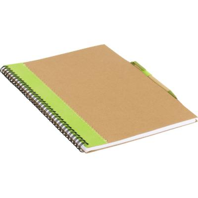 Image of Recycled cardboard notebook with pen