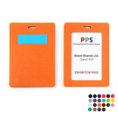 Image of PU  Landscape ID Card Holder for a Lanyard or Clip
