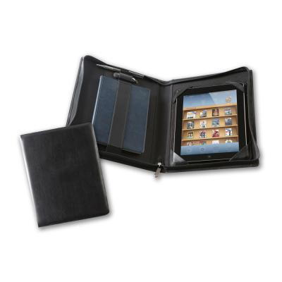 Image of Black Belluno Deluxe Zipped iPad Case with Notebook Holder